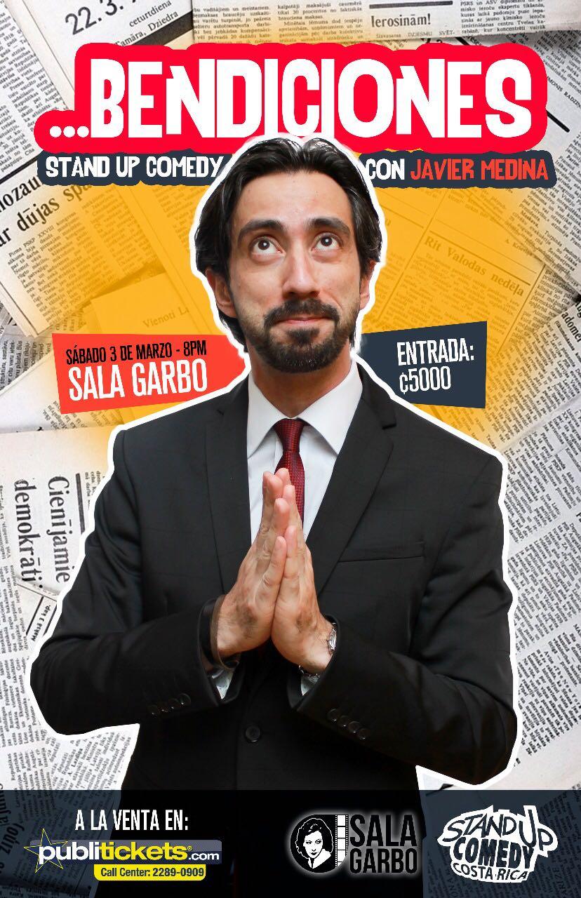"""Javier Medina Stand Up Comedy Costa Rica y su nuevo show """"Bendiciones"""" debuta en la Sala Garbo este sábado 3 de Marzo"""